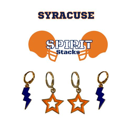 Syracuse University Spirit Stack Set with Navy Mini Enamel Bolts with Orange Statement Open Starboys