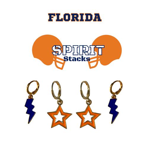 University of Florida Spirit Stack Set with Navy Mini Enamel Bolts with Orange Statement Open Starboys