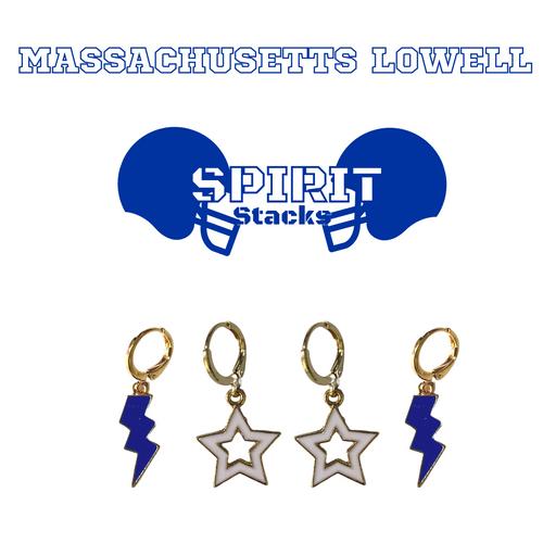 University of Massachusetts Lowell Spirit Stack Set with Cobalt Mini Enamel Bolts with White Statement Open Starboys