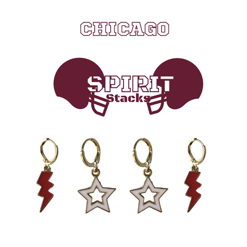University of Chicago Spirit Stack Set with Maroon Mini Enamel Bolts with White Statement Open Starboys