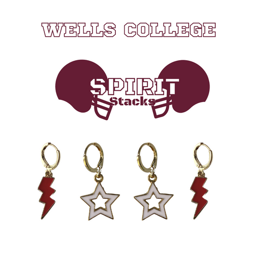Wells College Spirit Stack Set with Maroon Mini Enamel Bolts with White Statement Open Starboys