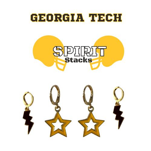 Georgia Tech Spirit Stack Set with Black Mini Enamel Bolts with Golden Yellow Open Starboys