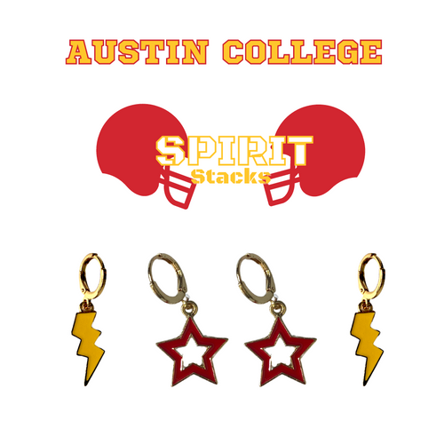 Austin College Spirit Stack Set with Golden Yellow Mini Enamel Bolts with Red Statement Open Starboys