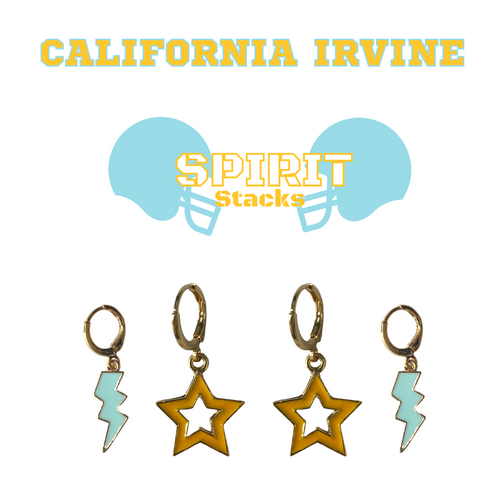 University of California, Irvine Spirit Stack Set with Baby Blue Mini Enamel Bolts with Golden Yellow Statement Open Starboys