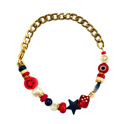 Red, white and black game day bracelet in gold