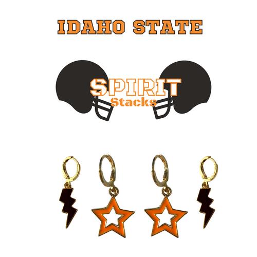 Idaho State University Spirit Stack Set with Black Mini Enamel Bolts with Orange Statement Open Starboys