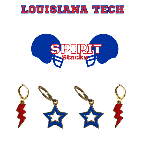 Louisiana Tech University Spirit Stack Set with Cobalt Mini Enamel Bolts with Red Statement Open Starboys