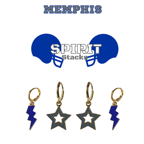 University of Memphis Spirit Stack Set with Cobalt Mini Enamel Bolts with Grey Statement Open Starboys