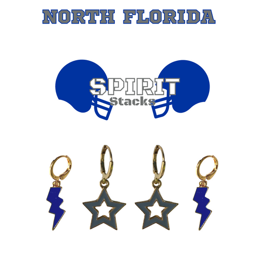 University of North Florida Spirit Stack Set with Cobalt Mini Enamel Bolts with Grey Statement Open Starboys