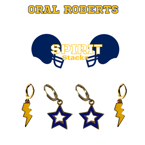 Oral Roberts University Spirit Stack Set with Golden Yellow Mini Enamel Bolts with Navy Statement Open Starboys
