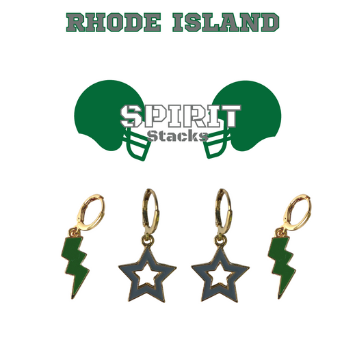Community College of Rhode Island Spirit Stack Set with Green Mini Enamel Bolts with Grey Statement Open Starboys