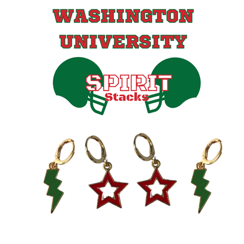 Washington University in St. Louis Spirit Stack Set with Green Mini Enamel Bolts with Red Statement Open Starboys