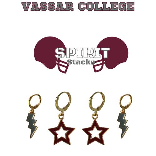 Vassar College Spirit Stack Set with Grey Mini Enamel Bolts with Maroon Statement Open Starboys