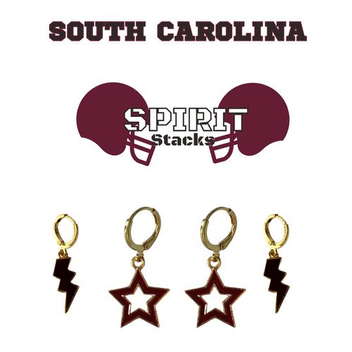 University of South Carolina Spirit Stack Set with Black Mini Enamel Bolts with Maroon Statement Open Starboys