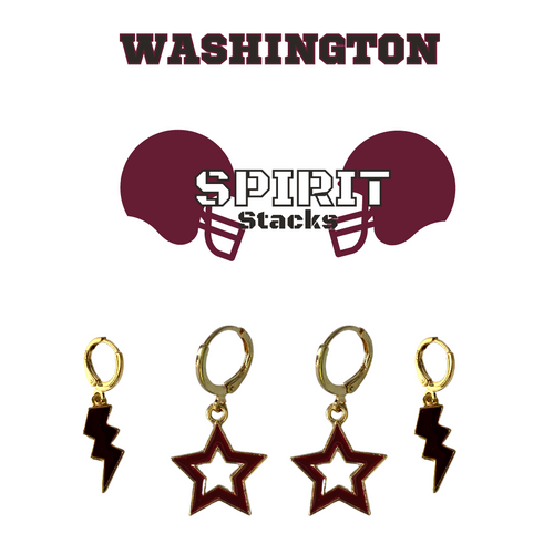 Washington College Spirit Stack Set with Black Mini Enamel Bolts with Maroon Statement Open Starboys