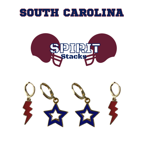 South Carolina State University Spirit Stack Set with Maroon Mini Enamel Bolts with Navy Statement Open Starboys