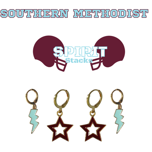Southern Methodist University Spirit Stack Set with Baby Blue Mini Enamel Bolts with Maroon Statement Open Starboys