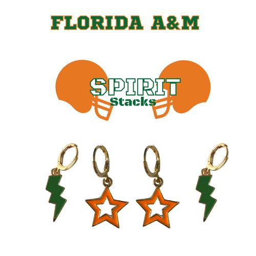 Florida A&M University Spirit Stack Set with Green Mini Enamel Bolts with Orange Statement Open Starboys