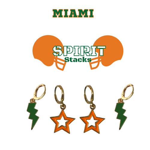 University of Miami Spirit Stack Set with Green Mini Enamel Bolts with Orange Statement Open Starboys