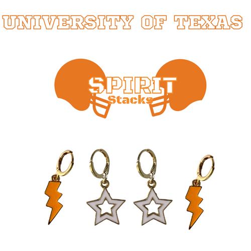 University of Texas Spirit Stack Set with Orange Mini Enamel Bolts with White Statement Open Starboys