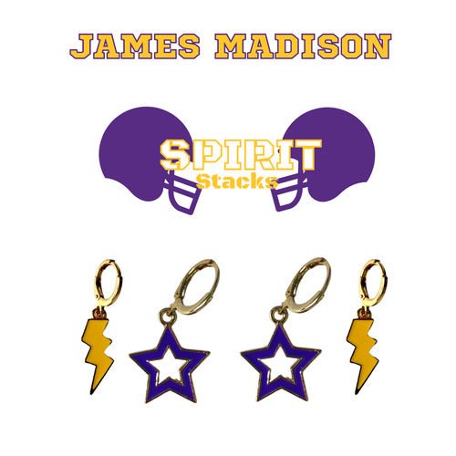 James Madison University Spirit Stack Set with Purple Mini Enamel Bolts with Golden Yellow Statement Open Starboys