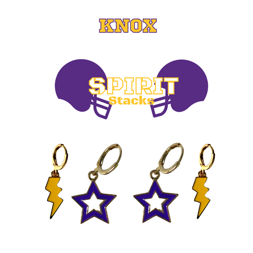 Knox College (Illinois) Spirit Stack Set with Purple Mini Enamel Bolts with Golden Yellow Statement Open Starboys