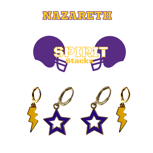 Nazareth College Spirit Stack Set with Purple Mini Enamel Bolts with Golden Yellow Statement Open Starboys