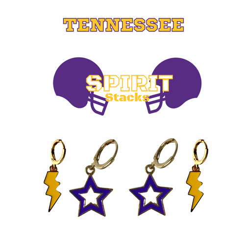 Tennessee Technological University Spirit Stack Set with Purple Mini Enamel Bolts with Golden Yellow Statement Open Starboys