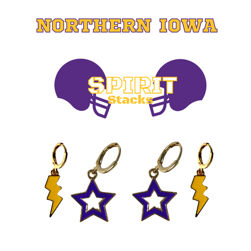 University of Northern Iowa Spirit Stack Set with Purple Mini Enamel Bolts with Golden Yellow Statement Open Starboys