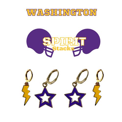 University of Washington Spirit Stack Set with Purple Mini Enamel Bolts with Golden Yellow Statement Open Starboys