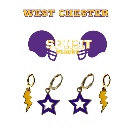 West Chester University of Pennsylvania Spirit Stack Set with Purple Mini Enamel Bolts with Golden Yellow Statement Open Starboys