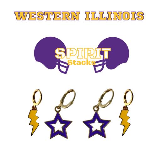 Western Illinois University Spirit Stack Set with Purple Mini Enamel Bolts with Golden Yellow Statement Open Starboys