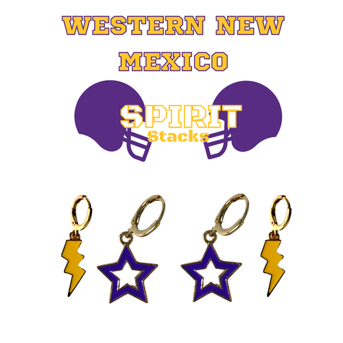 Western New Mexico University Spirit Stack Set with Purple Mini Enamel Bolts with Golden Yellow Statement Open Starboys