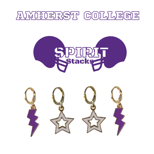 Amherst College Spirit Stack Set with Purple Mini Enamel Bolts with White Statement Open Starboys
