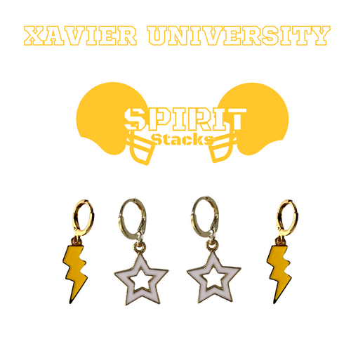 Xavier University of Louisiana Spirit Stack Set with Golden Yellow Mini Enamel Bolts with White Statement Open Starboys