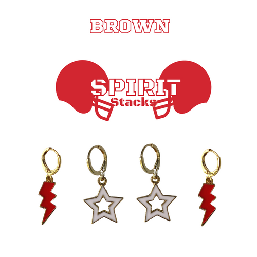 Brown University Spirit Stack Set with Red Mini Enamel Bolts with White Statement Open Starboys
