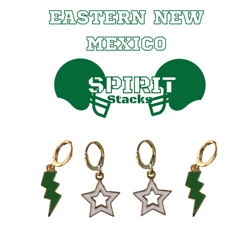 Eastern New Mexico University Spirit Stack Set with Green Mini Enamel Bolts with White Statement Open Starboys