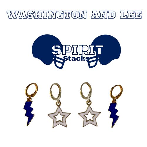 Washington and Lee University Spirit Stack Set with Navy Mini Enamel Bolts with White Statement Open Starboys
