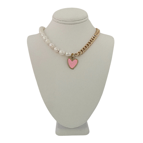 SBS Pearl and Chain Pink Statement Heart Necklace