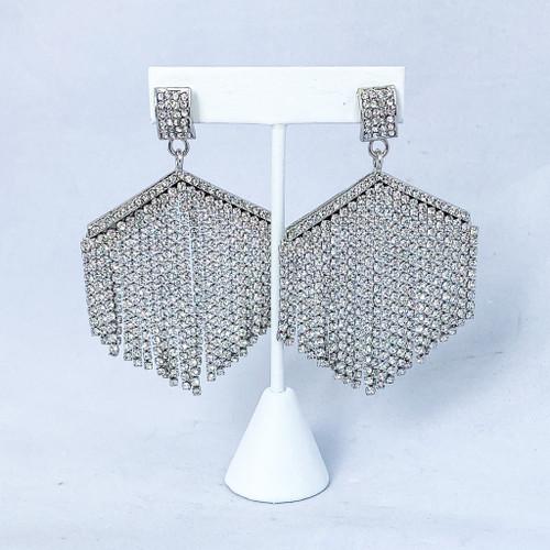 Glitzy Crystal Fringe in Silver