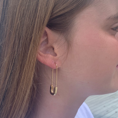 Wearing Gold Classic Safety Pin Earrings