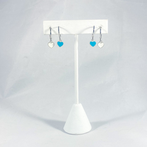 Silver Baby Hearts Teal and White with Silver Huggie Hoops