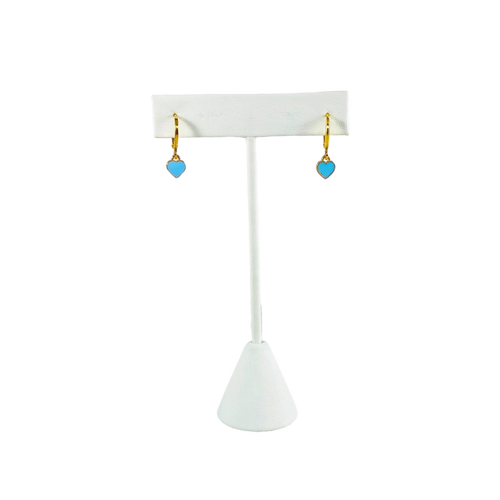 Gold Baby Heart in Baby Blue with Huggie Hoops on Stand
