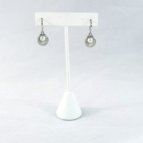 Pearl in Silver Shell with Huggie Hoops on Stand