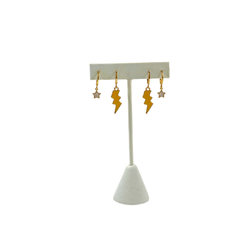 Game Day Stack of Mini Enamel Golden Yellow Bolts and White Baby Stars on Stand