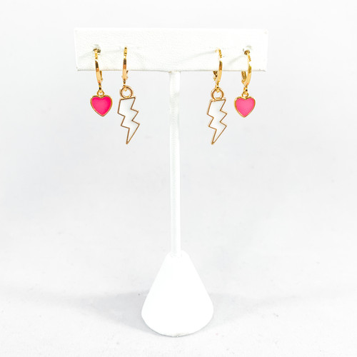 Pink Neon Hearts paired with White Mini Enamel Bolts on Stand