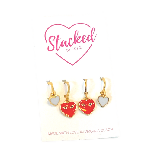 Crazy in Love Stack:   Red Mini Eye Heart You and Neon White Baby Heart
