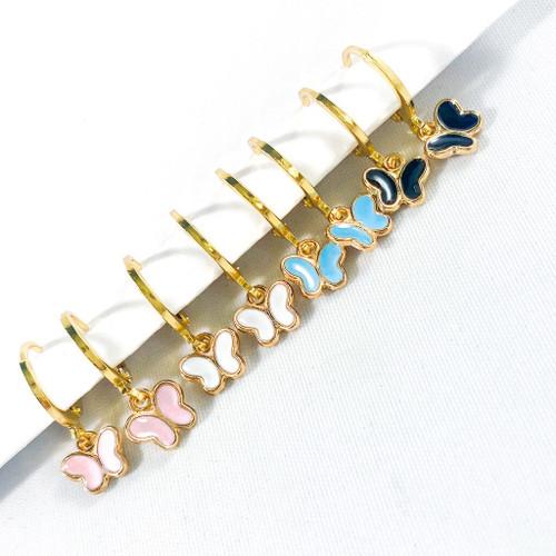 Set of 4 Tiny Enamel Butterfly earrings with Huggie Hoops
