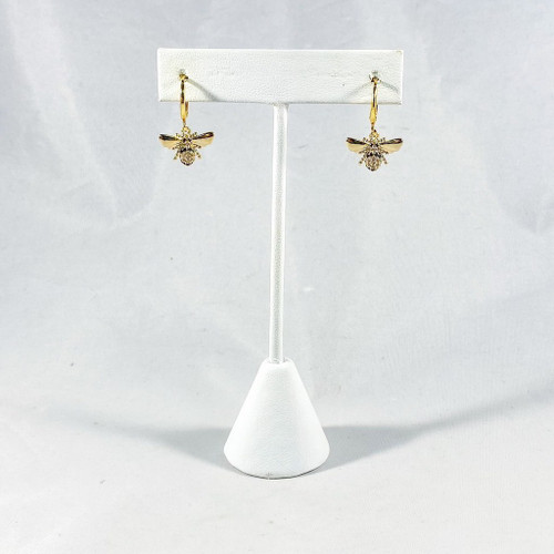 Tiny Gold Bees with Huggie Hoops on Stand