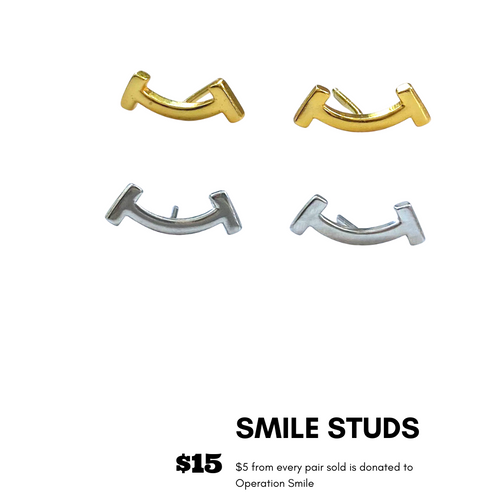 Smile Studs Gold and Silver
